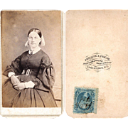 Civil War-Era Carte de Visite of Lady with Hair Vest Chain, Tax Stamp