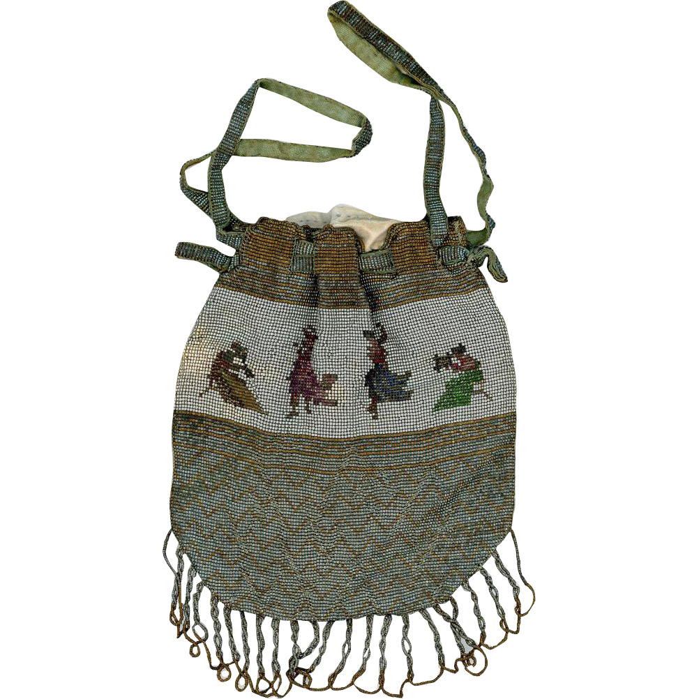 Dainty Micro-beaded Drawstring Purse, Victorian