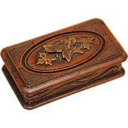 Carved Treen Stamp Box, early 20th Century