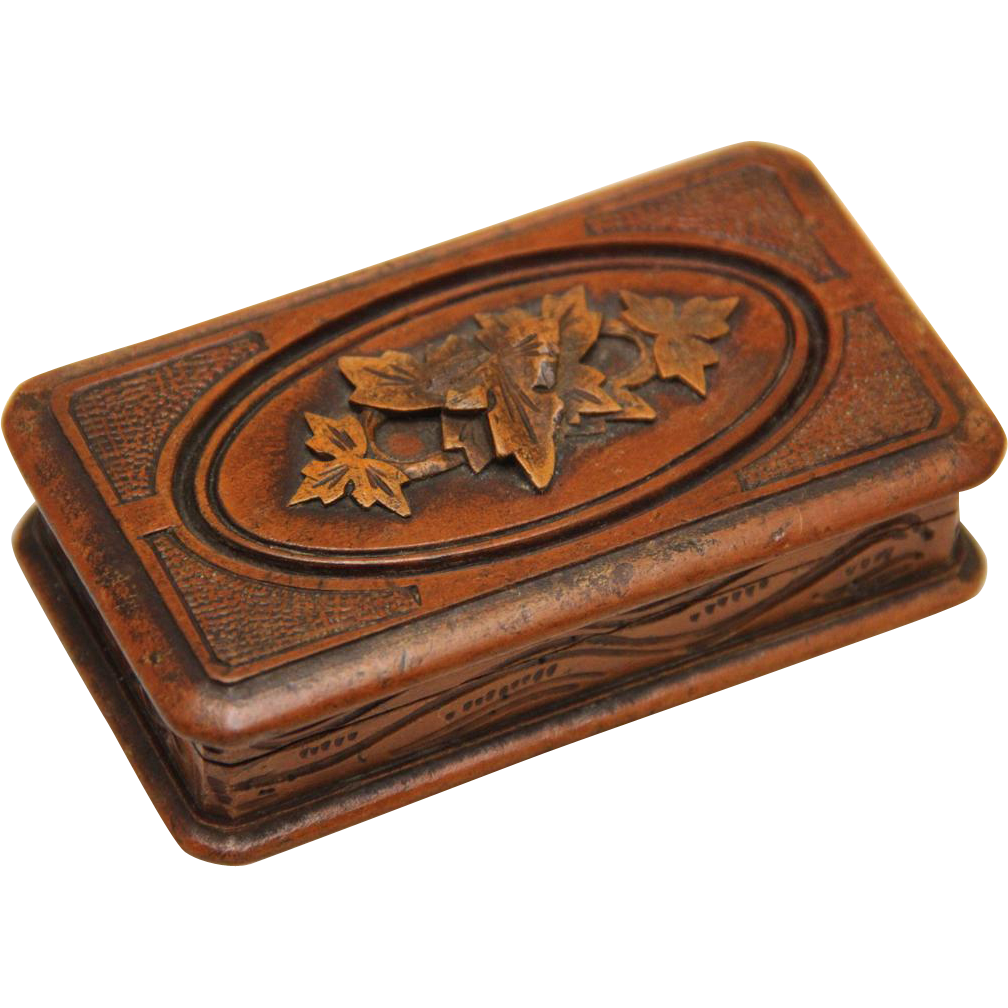 Carved treen stamp box early th century from boxes on