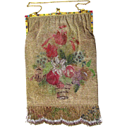 Super Large Jewelled Beaded Purse with Gilt Mounts & Floral Theme, c1920