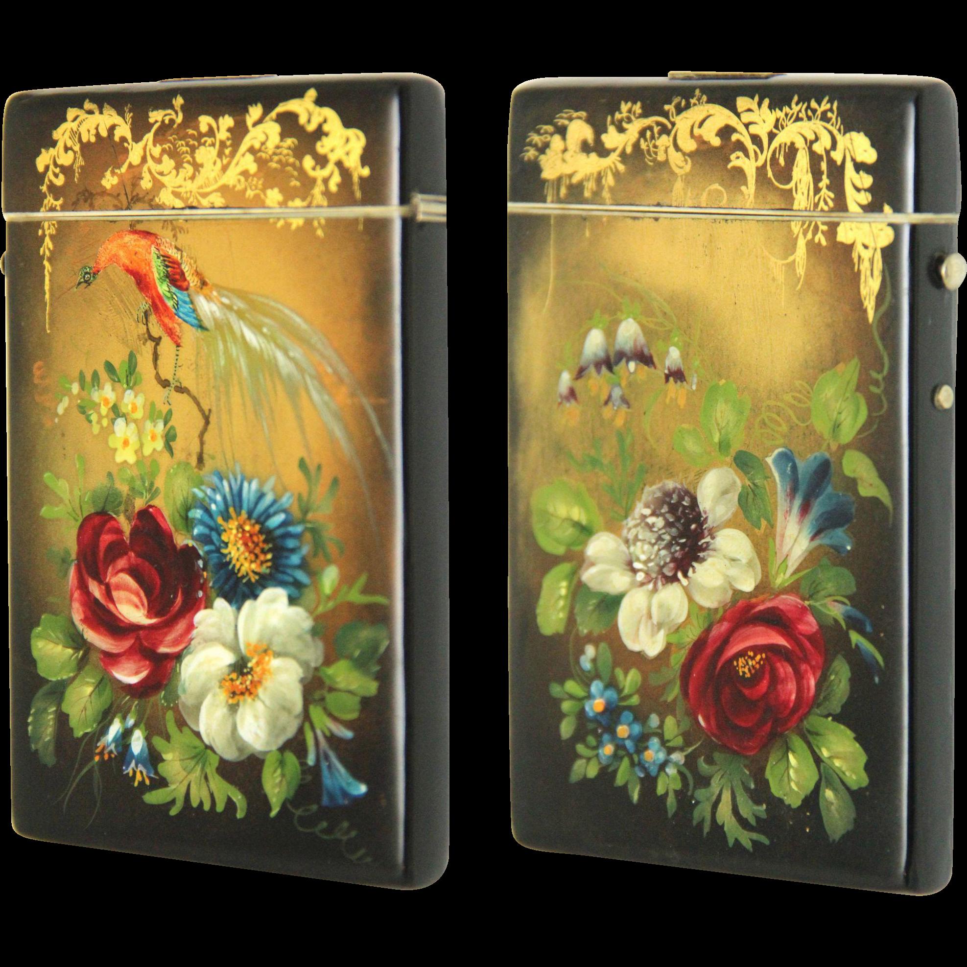 Spectacular Papier Mache Card Case, Victorian