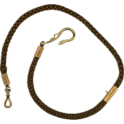 Unusual Hair & Gilt Vest Chain with Snake Feature, Victorian