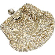 Small Beaded Belt Purse in Cream & White, early 20th Century