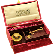 Sealing Wax Set in Red Velvet Box, 'The New Georgian', early 19th century