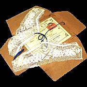 Matching Set of Silk Maltese Lace Collar, Cuffs & Handkerchief, Provenance c1918