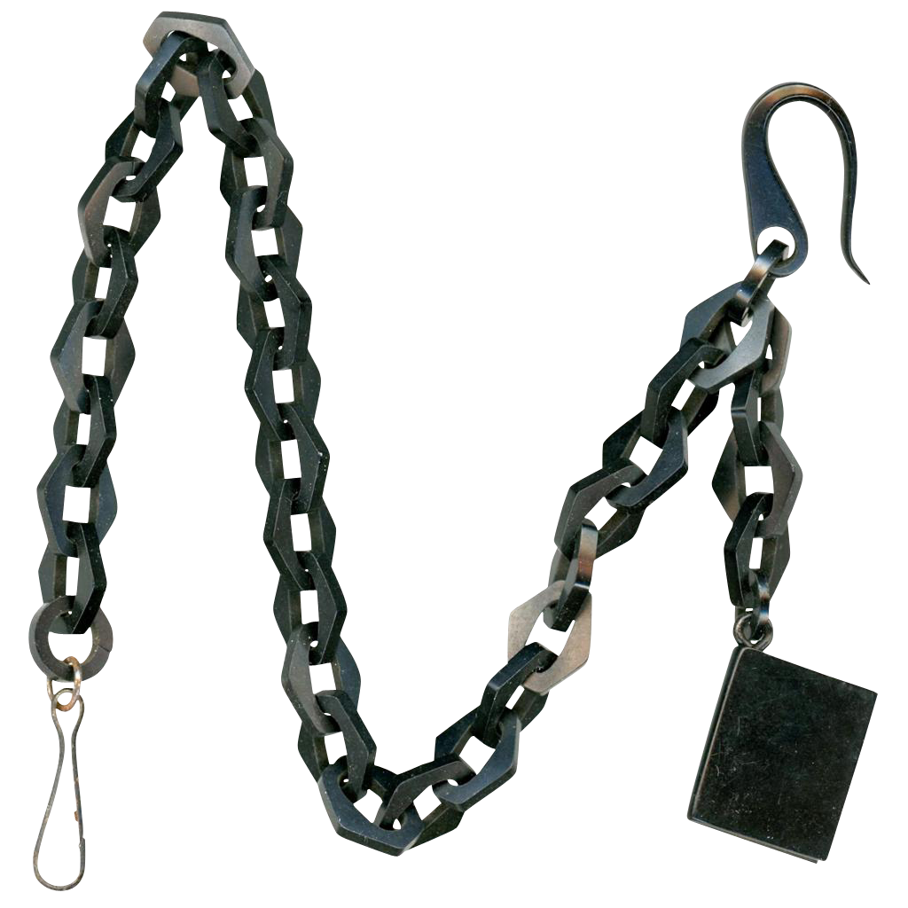 Vulcanite Vest Chain, Single Albert-style with Book-form Fob, Victorian