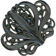 Black Thermoplastic & Steel Buckle, Lily of the Valley Motif, Victorian