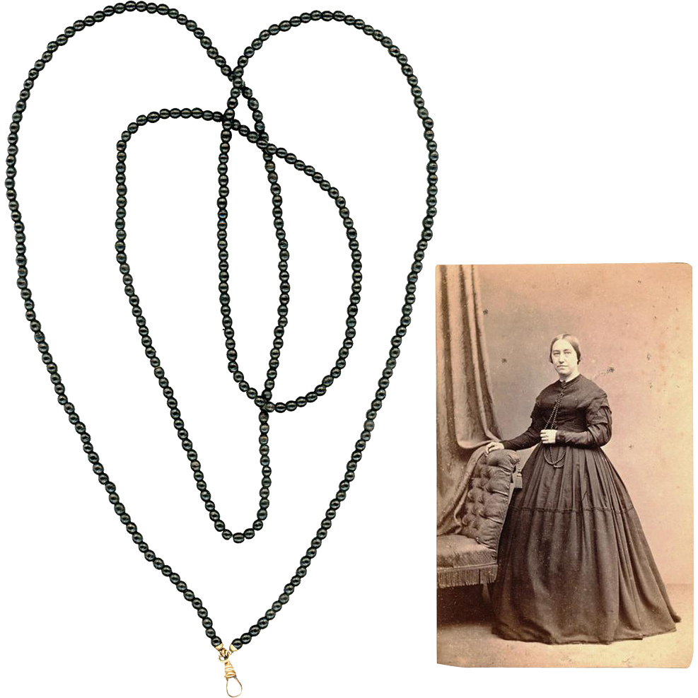Long Black Treen Guard or Muff Chain and Illustrative Carte de Visite, Civil-War Era