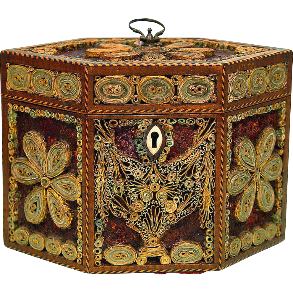 Tea Caddy of Rolled/Scrolled Paper or Quillwork & Mica Decoration, c1790