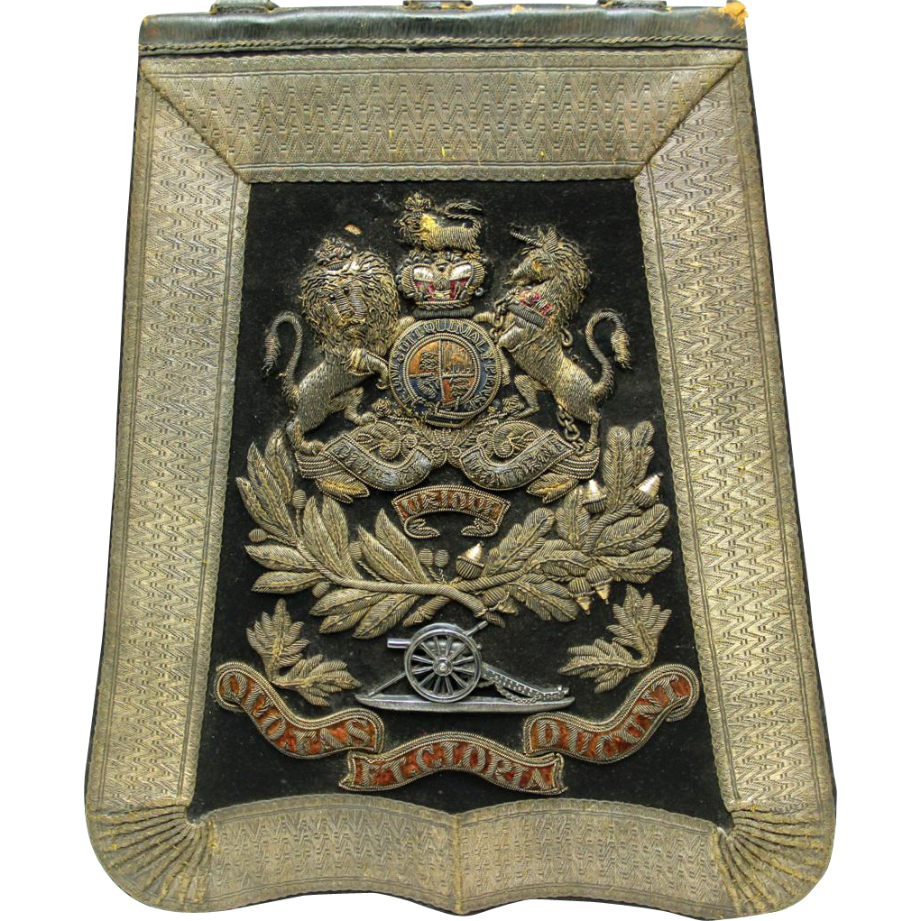 Decorative Original Sabretache, British Royal Artillery Regiment, Victorian. Maker Joseph Lyons, Woolwich