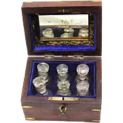 Brass Decorated Treen Box with Six Perfume Bottles and Mirror, Lockable, Late 19th Century