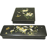 Attractive Matching Handkerchief & Glove Boxes, Papier Mache with Daisy Design, Late 19th Century