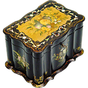 Stunning Papier Mache Tea Caddy, MOP & Floral Decoration, Tea Canister/Sugar Bowl, c1840