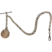 Sterling Silver Single Albert Chain with Swivel and Coin Fob