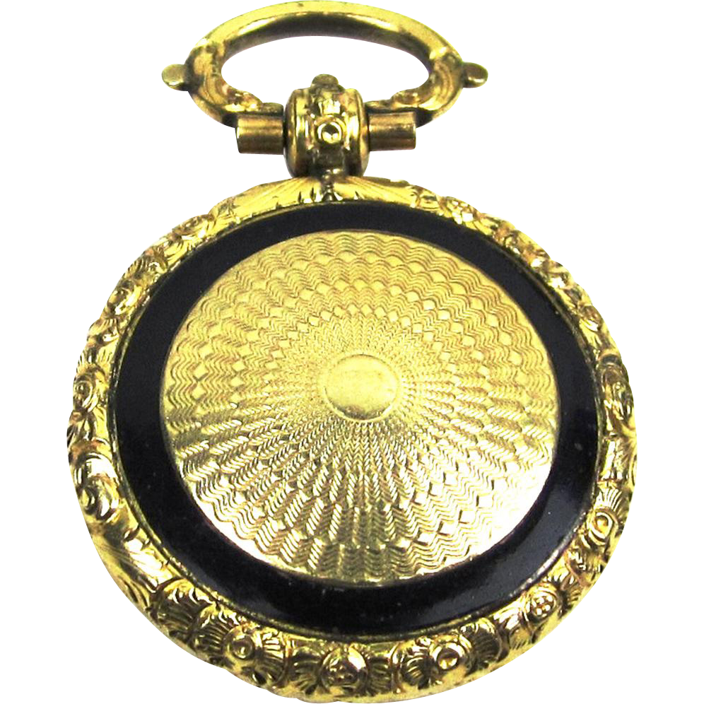 14 Carat Gold and Black Enamel Locket in Watch-form with Hair Memento, Victorian