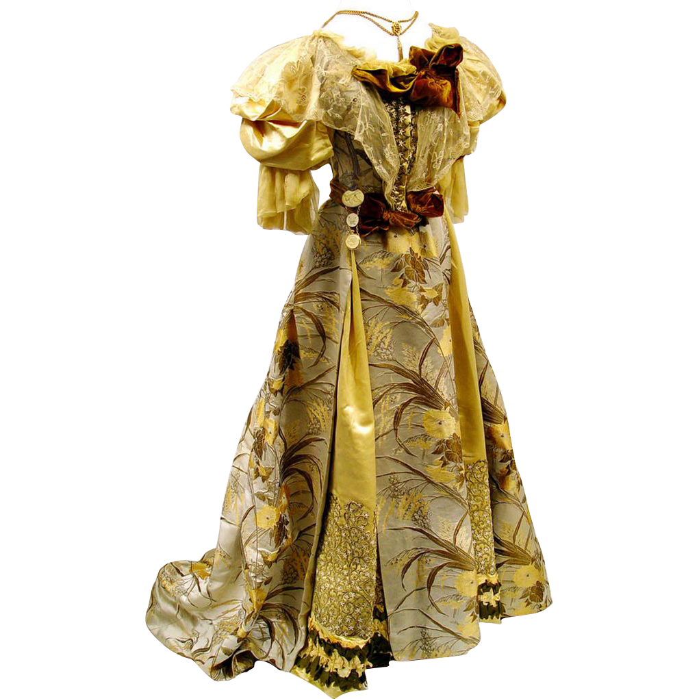 Sumptuous Cream, Green and Gold Brocaded Gown, Late 19th Century