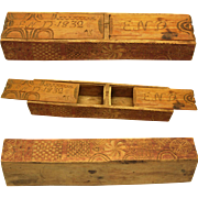 Special Chip-carved Box, dated 1832 with Monograms and 'Hex' Signs
