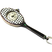 Stunning Enamel Racquet-form Pendant Watch, Art Deco