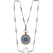 Fabulous Blue Enamel & Gold Watch Pendant and Matching Chain, c1905
