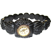 Unusual Whitby Jet Stretch Bangle with Watch-form Compass, Victorian