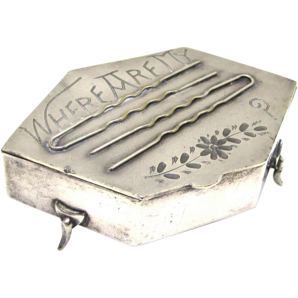 Silverplate Dressing Table Box for Hairpins, early 20th Century