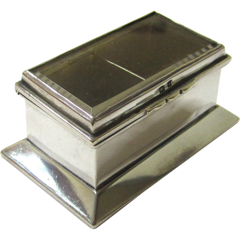 Delightful Sterling Silver Glazed Double Stamp Box with Gilded Interior, c1908