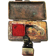 Chinese Seal Box with Bronze Foo Dog Handle with Seal & Red Paste, 19th Century
