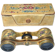 Delightful Boxed Opera Glasses with Petit Point Decoration, Early 20th Century