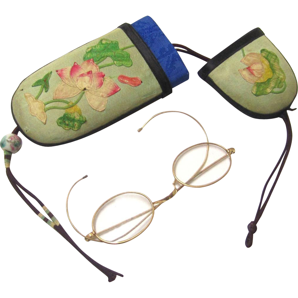 Pendant Waist-hung Oriental Spectacle Case with Spectacles, Silk Cover with Appliqué