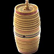Rare Treen Tunbridge Cotton Barrel, c1800, complete