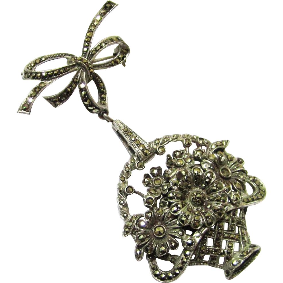 Charming Marcasite & Silver Brooch with Secret Watch within a Basket of Flowers