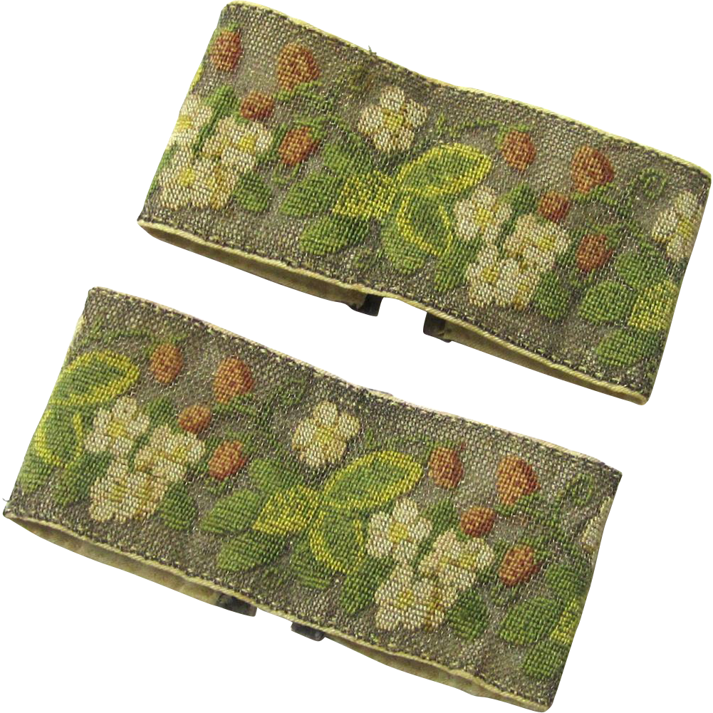 Unusual Pair of Cuffs, Petit Point on Silvered Metal Mesh with Silvered Fasteners, 19th Century