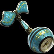 Turquoise Blue Enamel Ball Brooch Watch, Swiss, Maker 'Nadine'