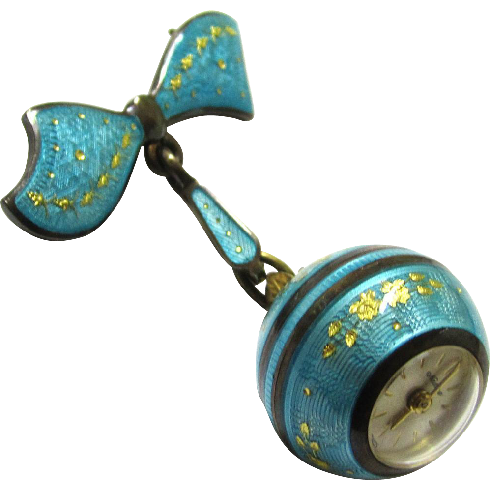 Turquoise Blue Enamel Ball Brooch Watch, Swiss, Maker 'Nadine'
