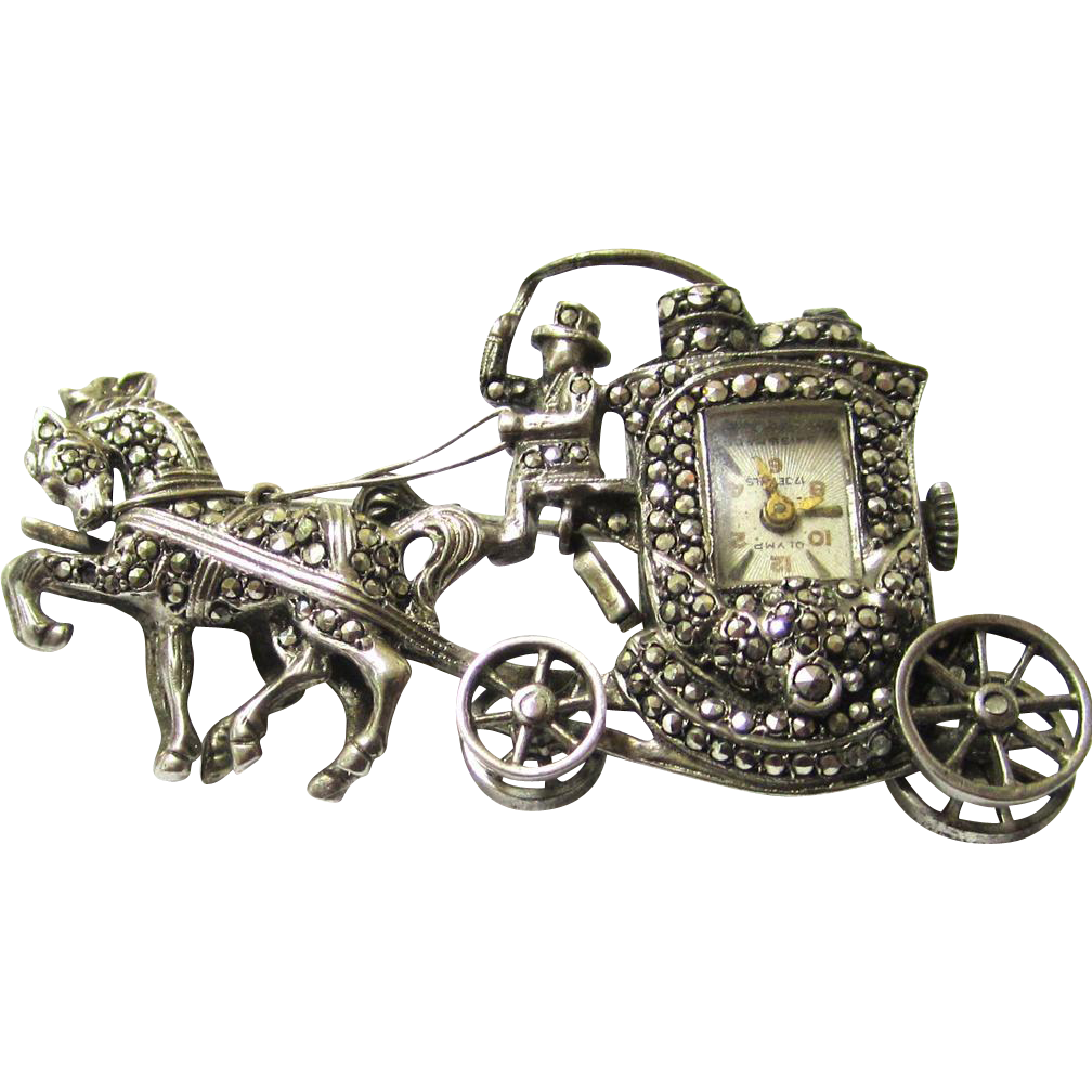 "Marcasite Brooch Watch in the Form of a Horse & Carriage, Marked ""Olymp"", Early 20th Century"