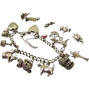 Silver Bracelet with Ten Charms & Five Loose Charms, Vintage