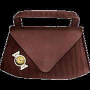 Charming Small Brown Handbag with Integral Watch, Vintage