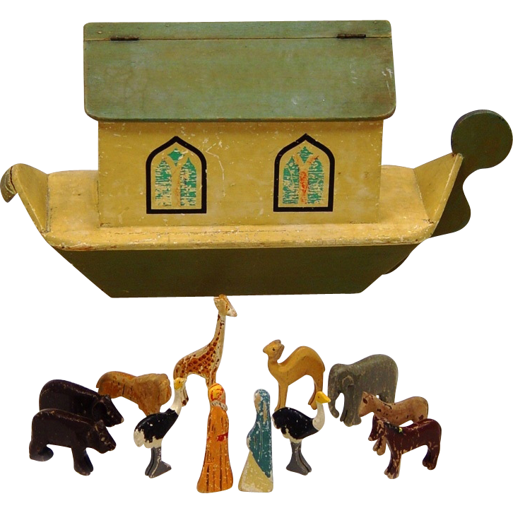 Noah's Ark with Hand Carved Animals, c1918