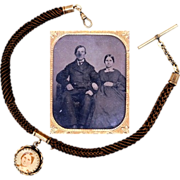 Ambrotype, Locket and Hair Vest Chain, Civil-war era