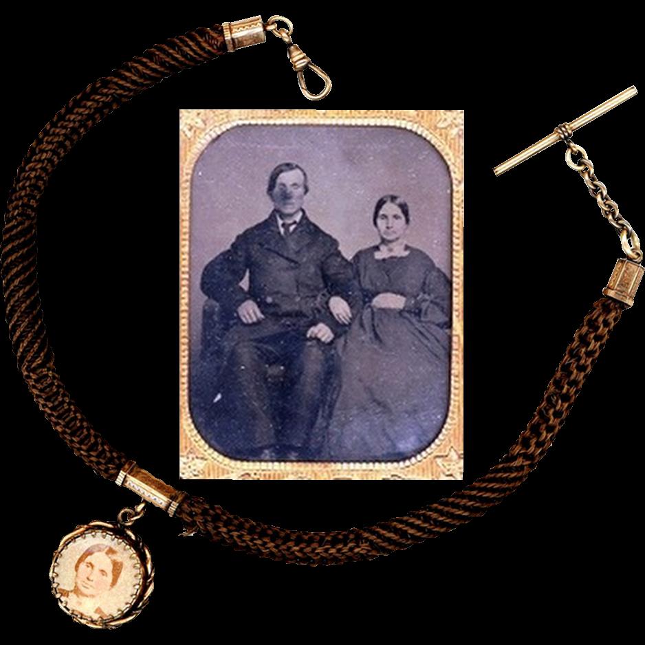 Ambrotype, Locket and Hair Vest Chain, Civil-war era