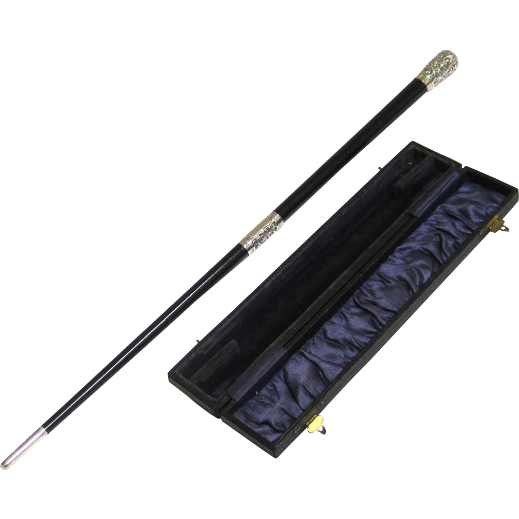 Boxed Ebony & Silver Conductor's Baton in Two Joinable Sections, c1929