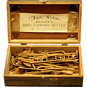Folk Art Game of Carved Jack Straws with Presentation Box, c1850