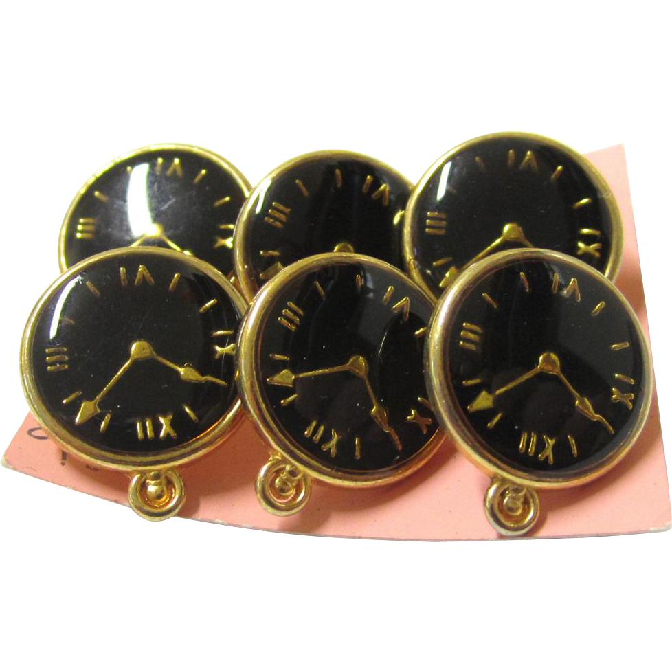 Quaint Set of Six Buttons in the Form of a Pocket Watch on Original Card, Vintage