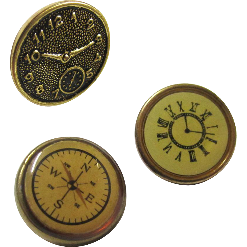 Three Buttons in Compass/Watch-form, Vintage
