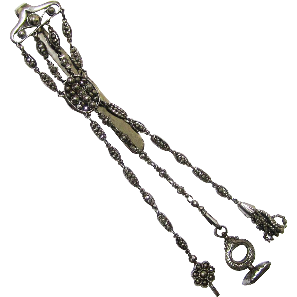 Glittering Cut Steel 18th Century Chatelaine with Appendages