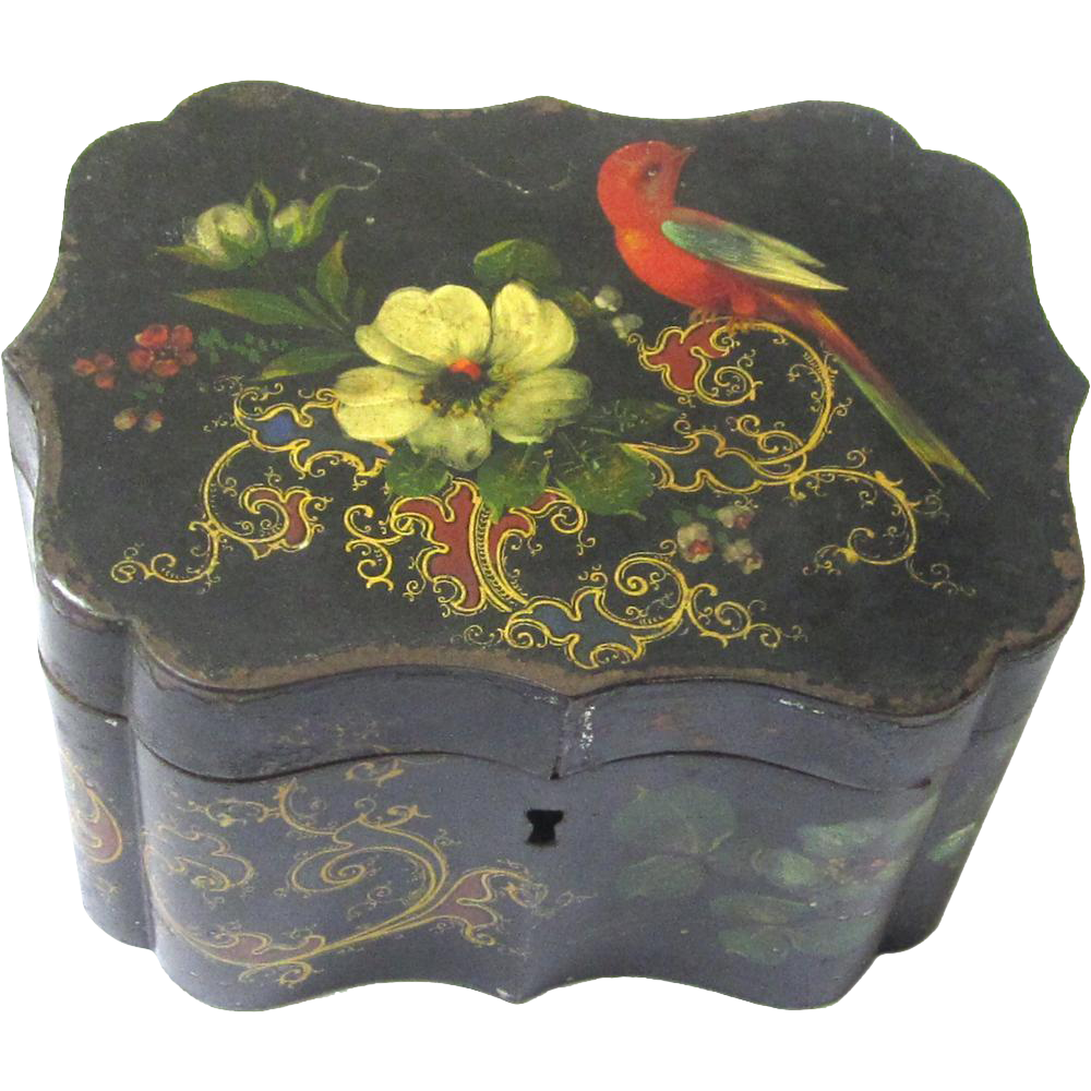 Delightful Shaped Painted Tole Box for Tea, Sugar or Jewellery, 19th Century