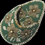 Beaded & Pearl Tear-drop Shaped Watch Pocket, Victorian