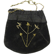 Small Homespun Black Velvet Embroidered Purse or Watch Pocket with Drawstring, Victorian