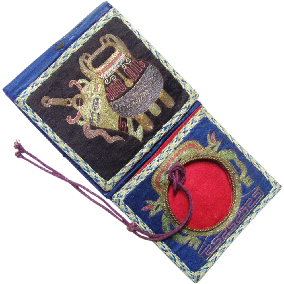 Stylish Chinese Embroidered Purse with Watch Holder, late 19th Century